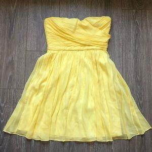 J Crew Yellow Arabelle Silk Strapless Dress